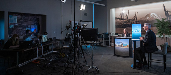 photograph behind the scenes of the Capitol Focus public affairs show being filmed