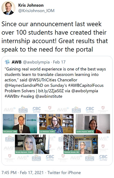 tweet from @KrisJohnson_IOM Since our announcement last week over 100 students have created their internship account! Great results that speak to the need for the portal
